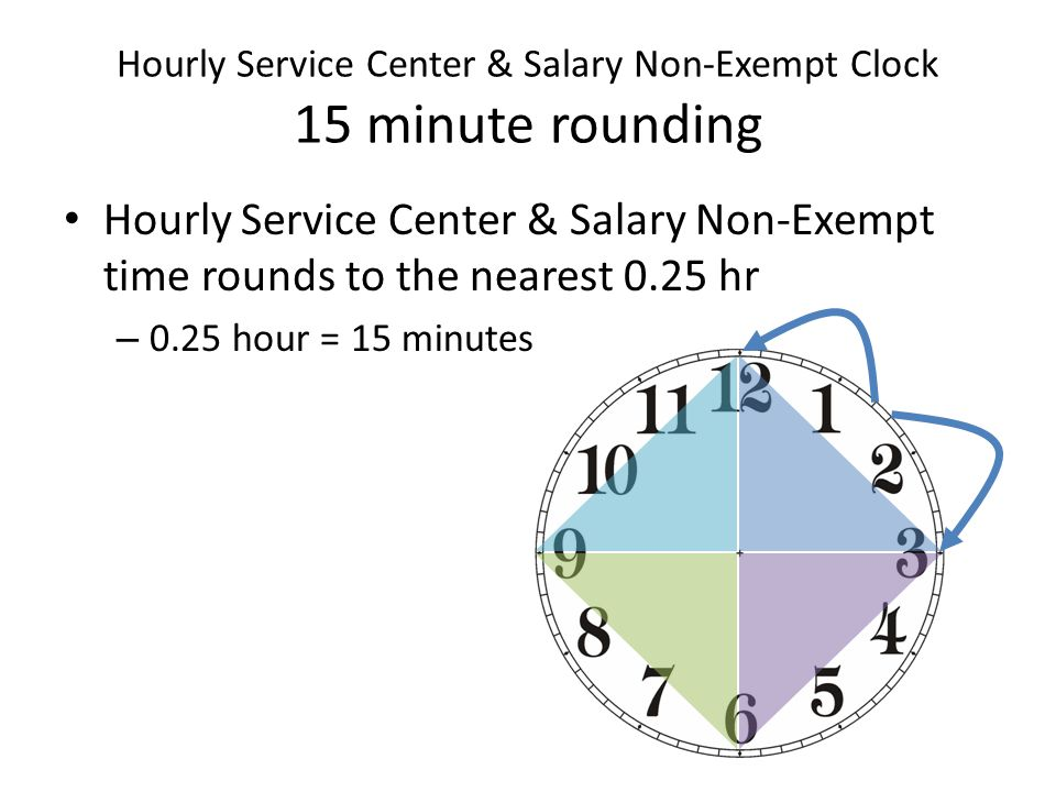 Hourly Service Center & Salary Non-Exempt Clock 15 minute rounding