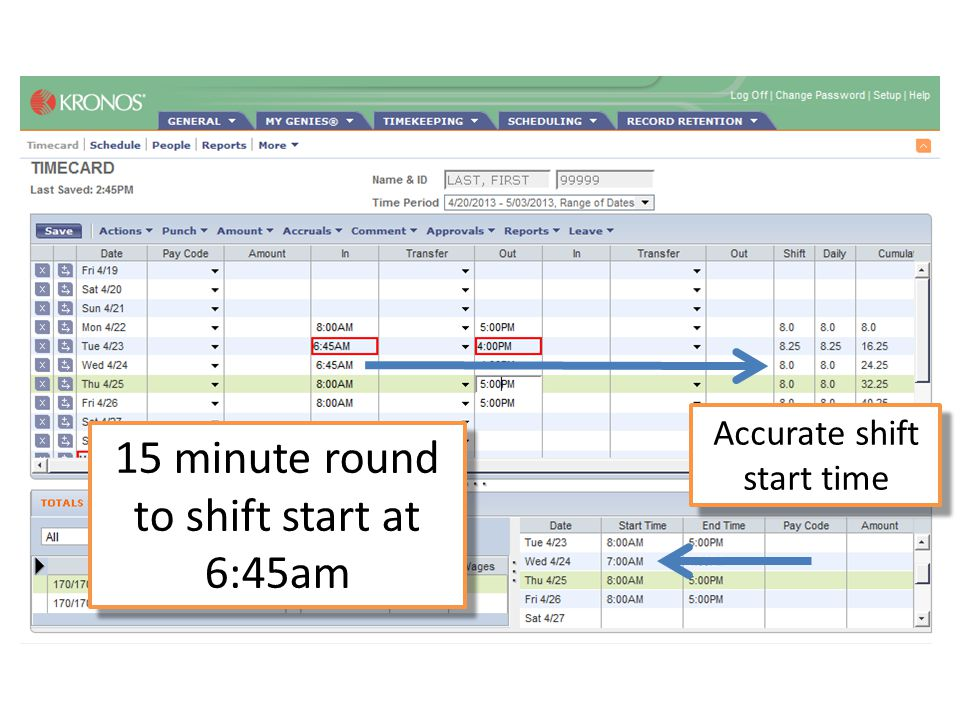 15 minute round to shift start at 6:45am