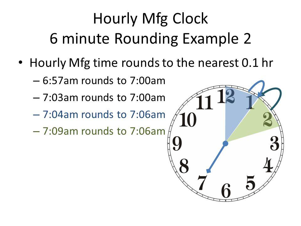 Hourly Mfg Clock 6 minute Rounding Example 2