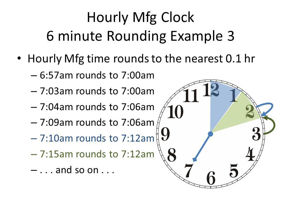 Hourly Mfg Clock 6 minute Rounding Example 3
