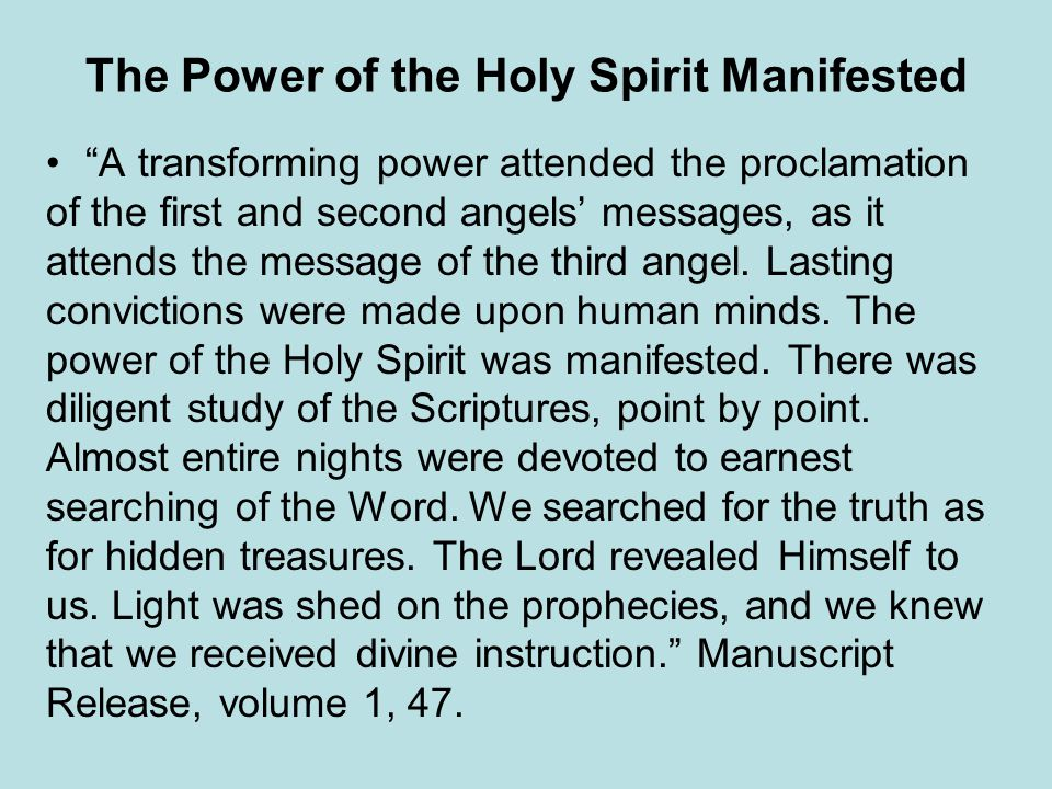 The Power of the Holy Spirit Manifested