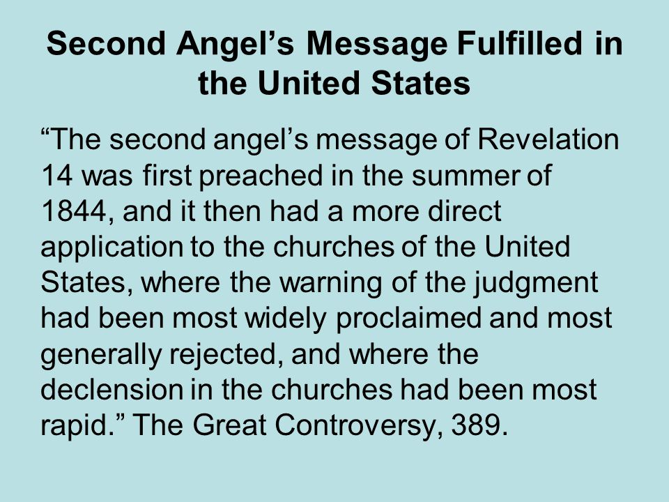 Second Angel's Message Fulfilled in the United States