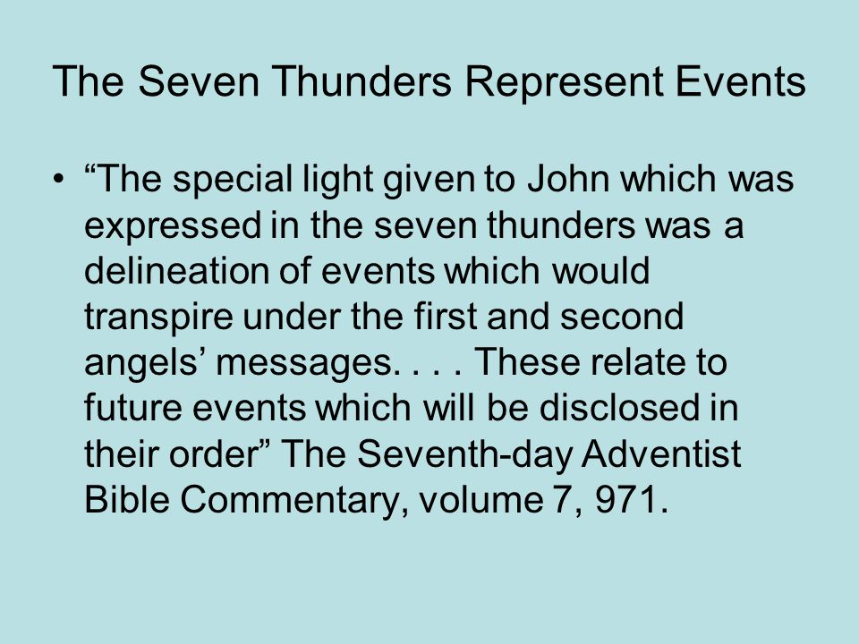 The Seven Thunders Represent Events