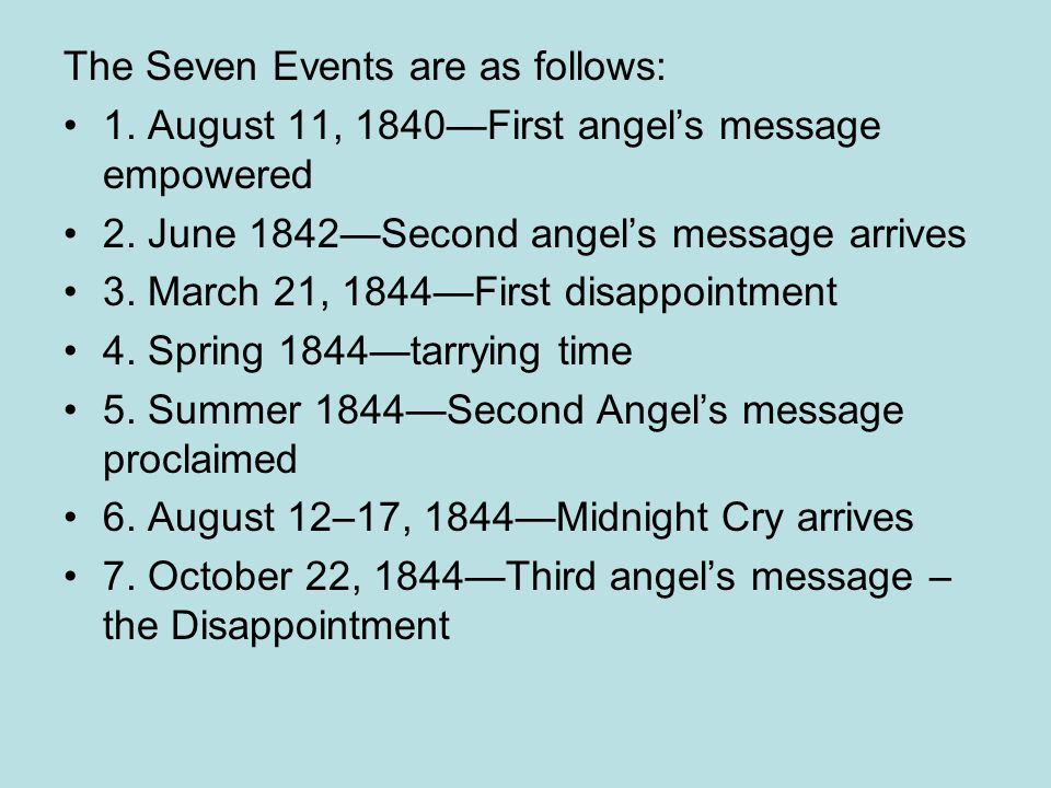 The Seven Events are as follows: