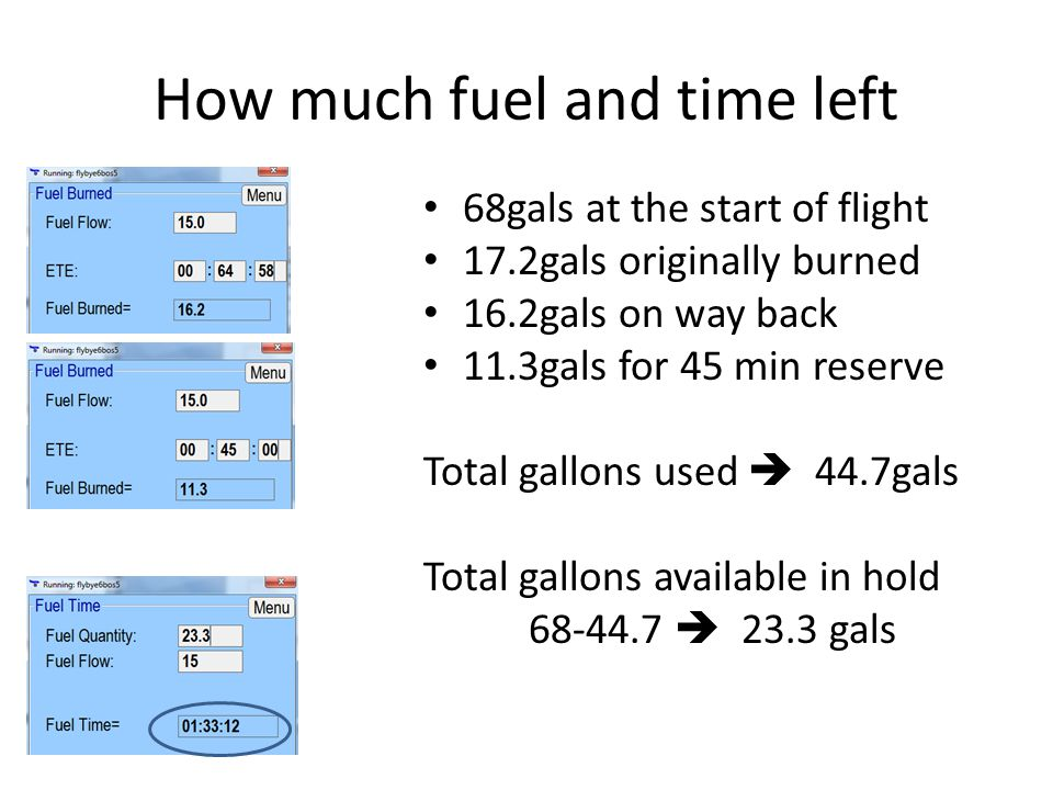 How much fuel and time left