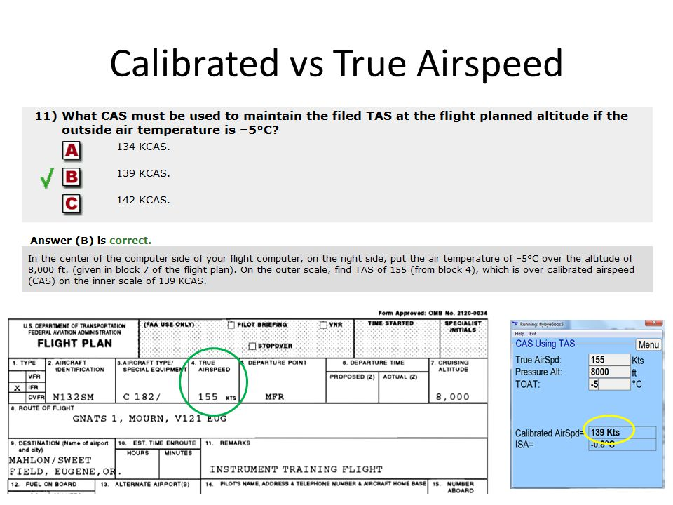 Calibrated vs True Airspeed