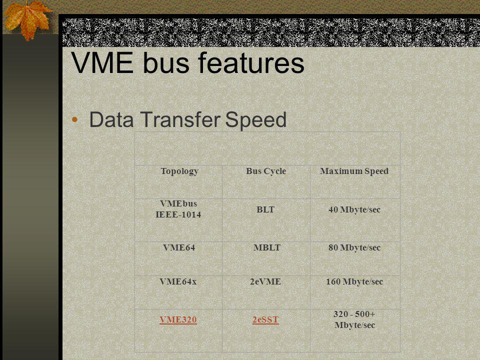 VME bus features Data Transfer Speed Topology Bus Cycle Maximum Speed