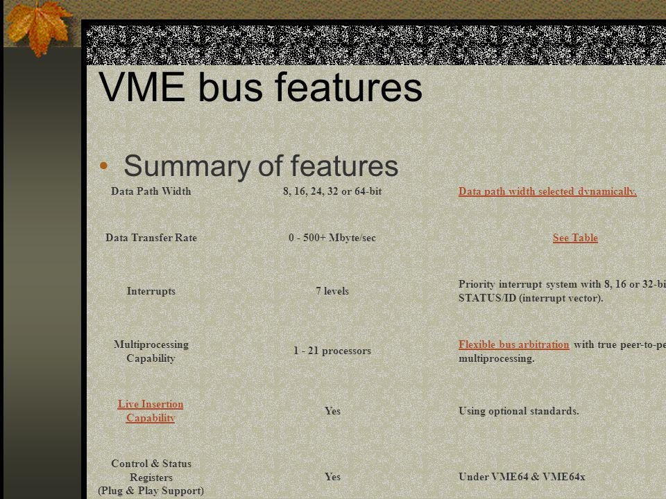VME bus features Summary of features Data Path Width
