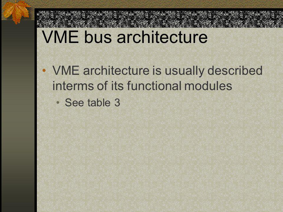 VME bus architecture VME architecture is usually described interms of its functional modules.