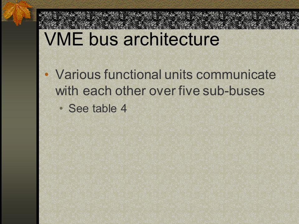 VME bus architecture Various functional units communicate with each other over five sub-buses.