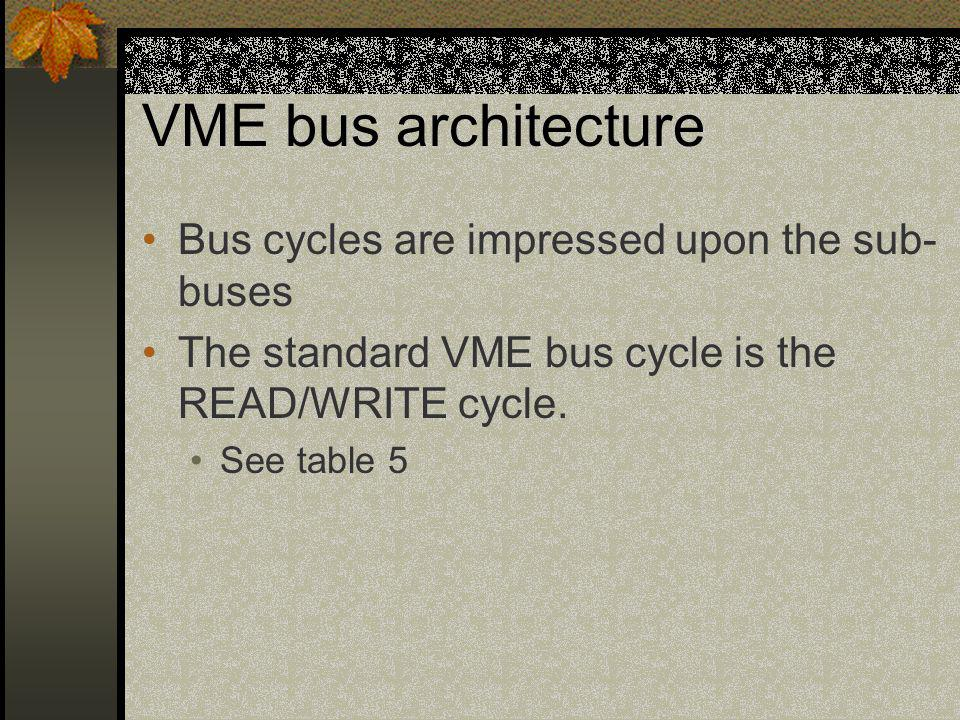 VME bus architecture Bus cycles are impressed upon the sub-buses