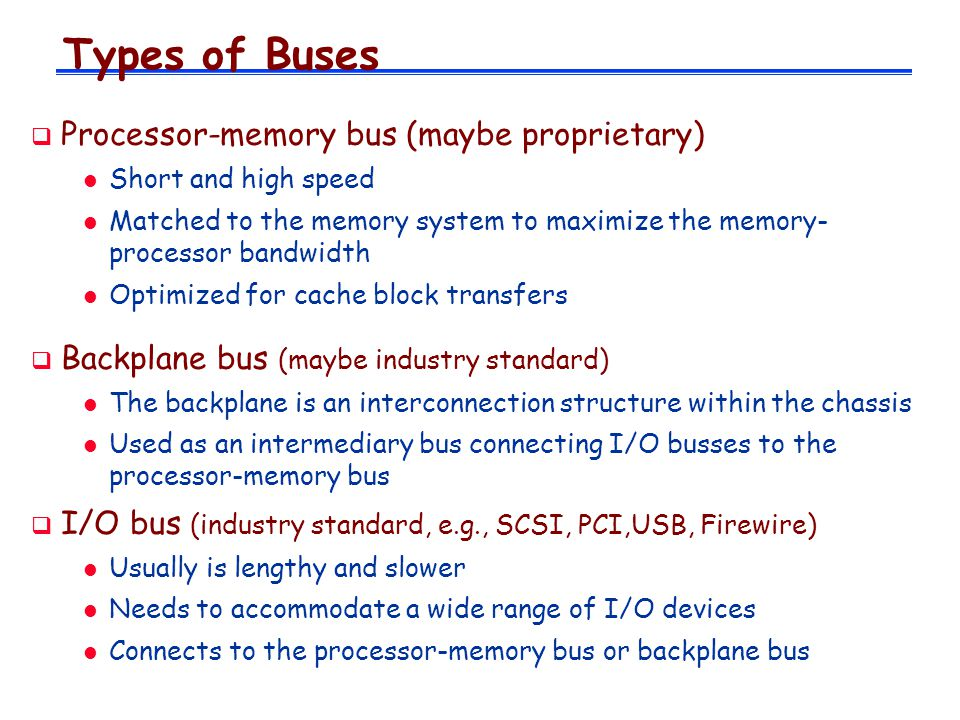 Types of Buses Processor-memory bus (maybe proprietary)