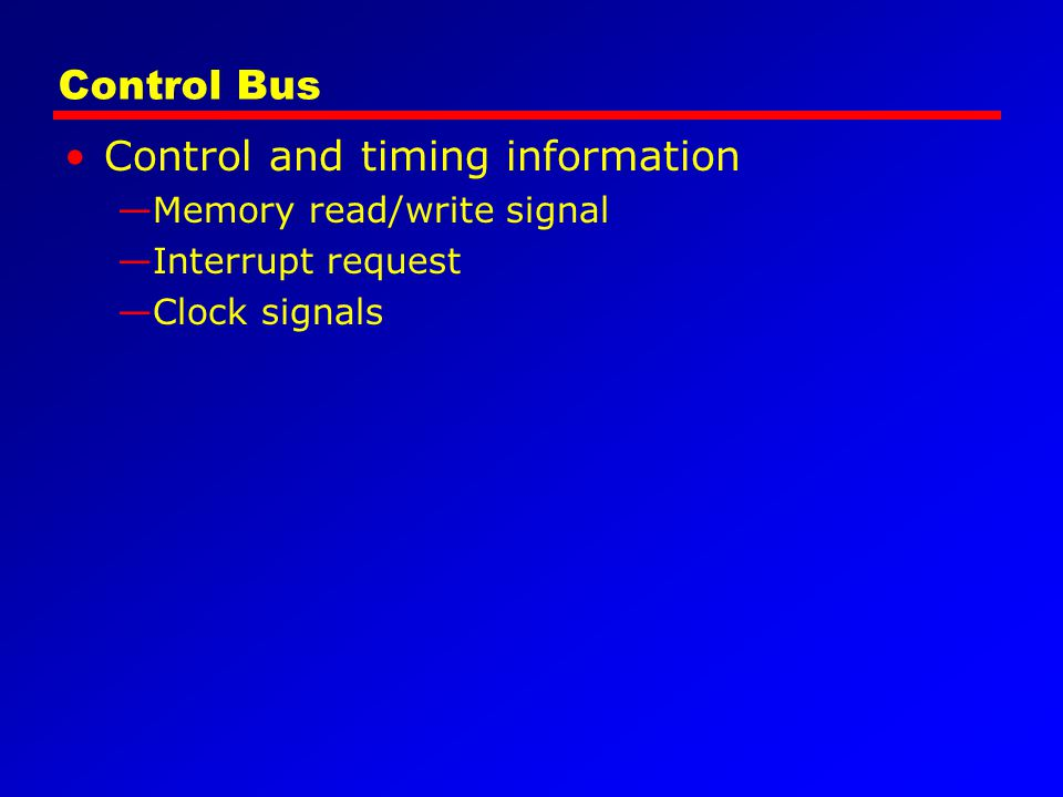 Control and timing information