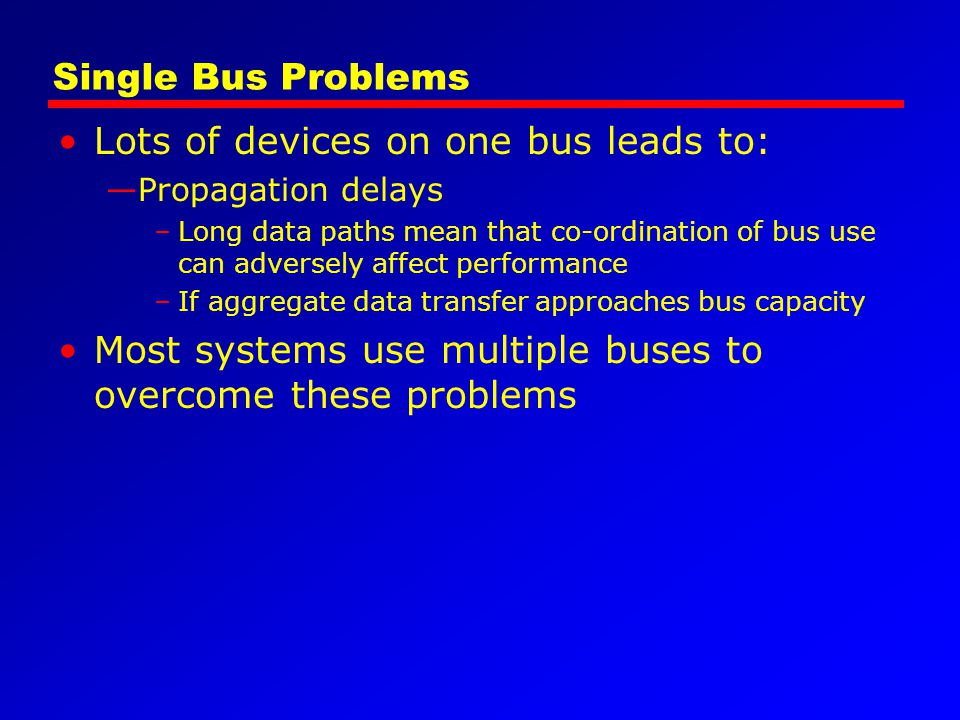 Lots of devices on one bus leads to: