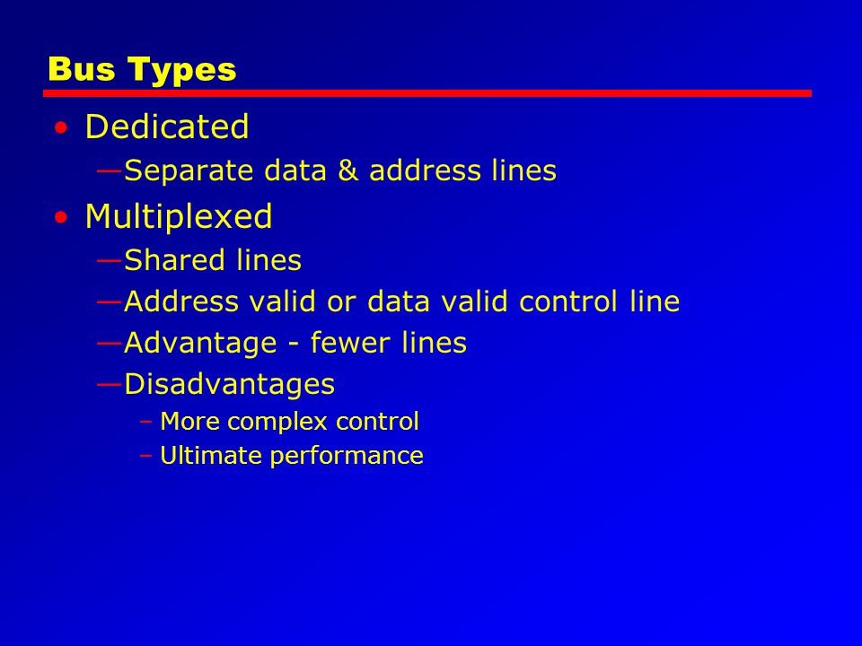 Bus Types Dedicated Multiplexed Separate data & address lines