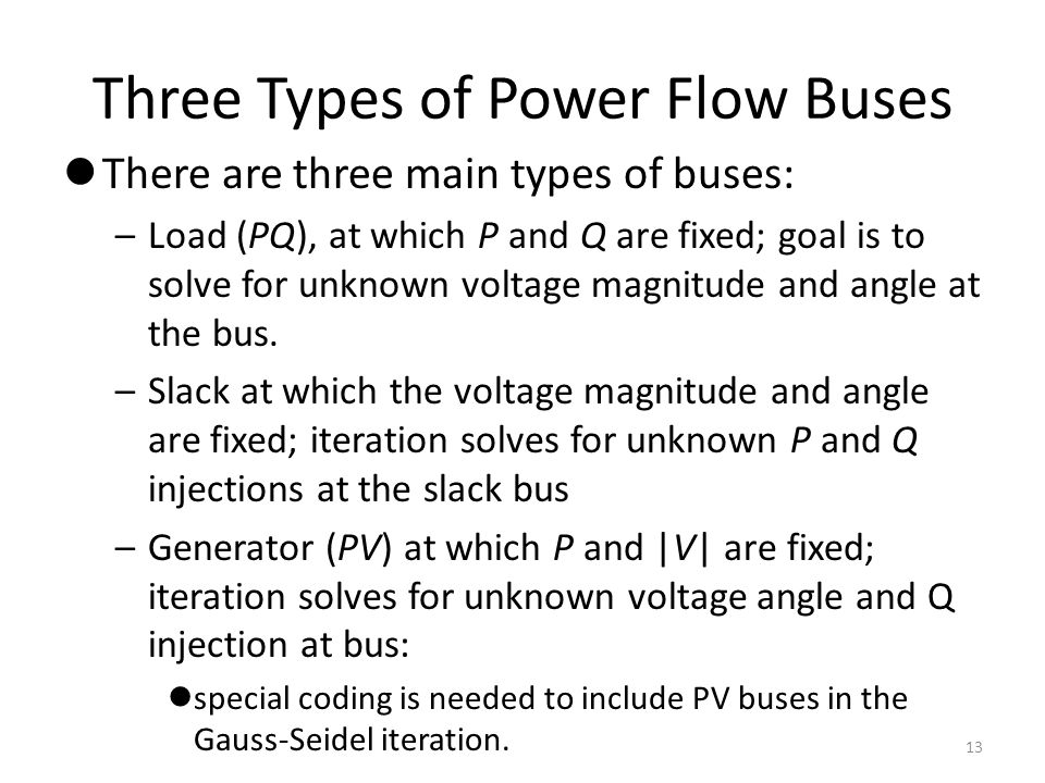 Three Types of Power Flow Buses