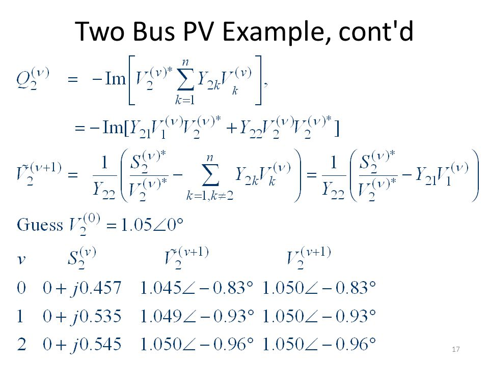 Two Bus PV Example, cont d
