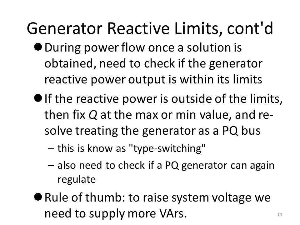 Generator Reactive Limits, cont d