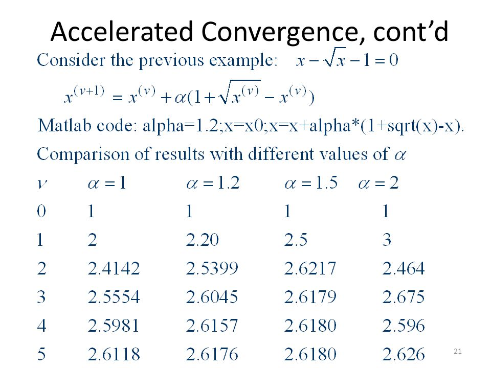 Accelerated Convergence, cont'd