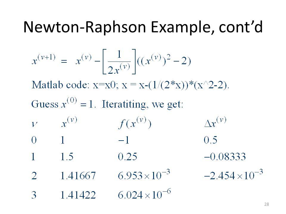 Newton-Raphson Example, cont'd