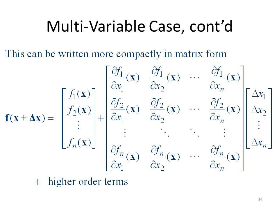 Multi-Variable Case, cont'd