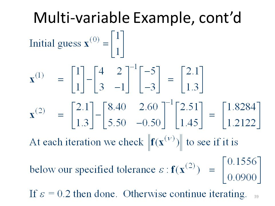Multi-variable Example, cont'd