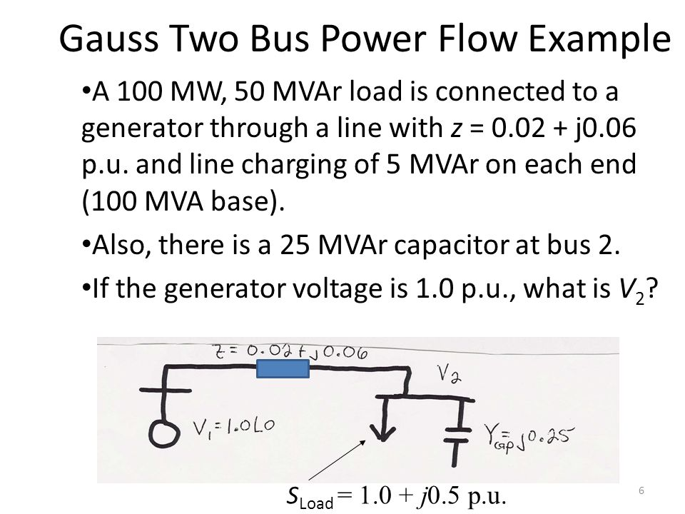 Gauss Two Bus Power Flow Example