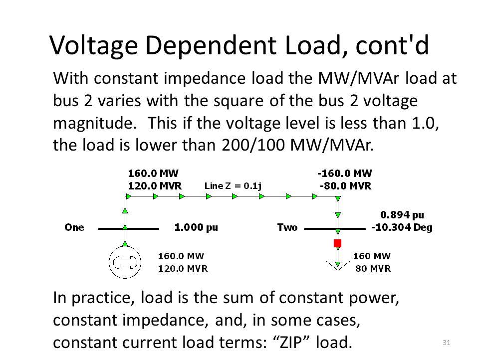 Voltage Dependent Load, cont d