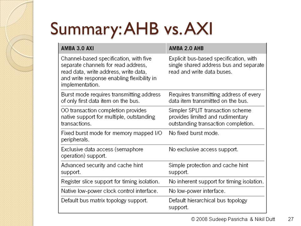 Summary: AHB vs. AXI © 2008 Sudeep Pasricha & Nikil Dutt