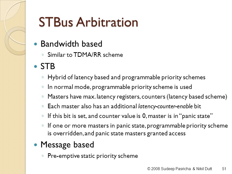 STBus Arbitration Bandwidth based STB Message based