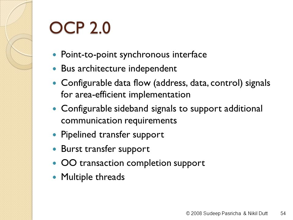 OCP 2.0 Point-to-point synchronous interface