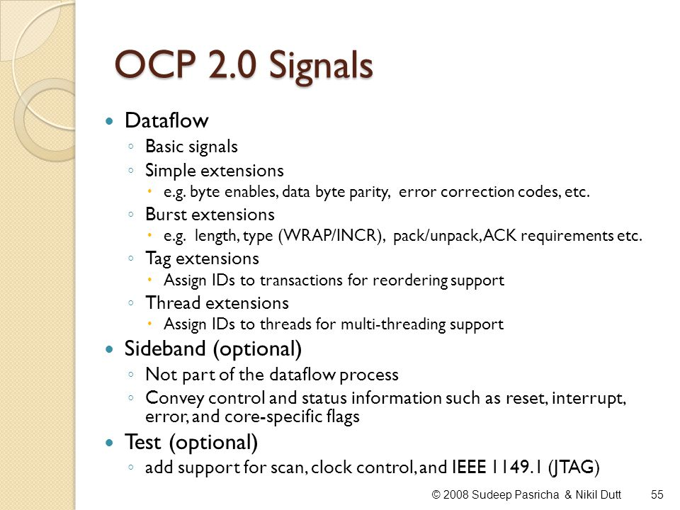 OCP 2.0 Signals Dataflow Sideband (optional) Test (optional)