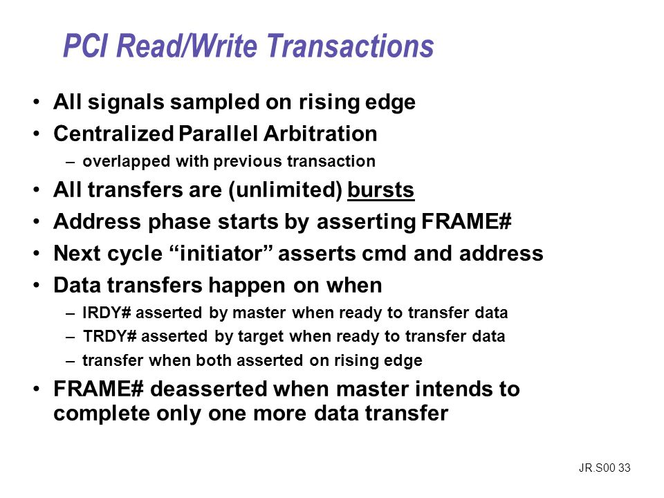 PCI Read/Write Transactions