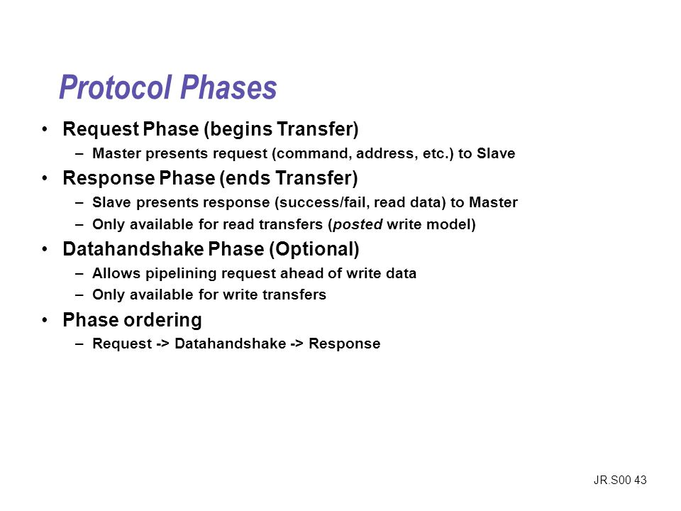 Protocol Phases Request Phase (begins Transfer)