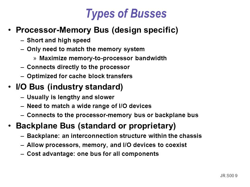 Types of Busses Processor-Memory Bus (design specific)