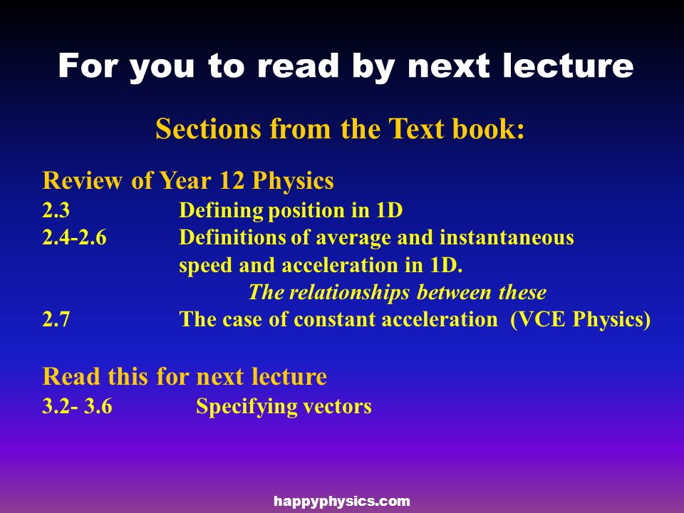 For you to read by next lecture