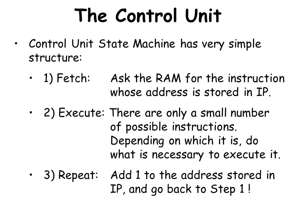 The Control Unit Control Unit State Machine has very simple structure: