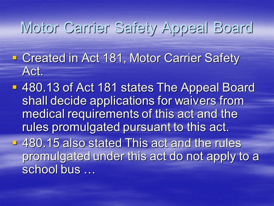 Motor Carrier Safety Appeal Board
