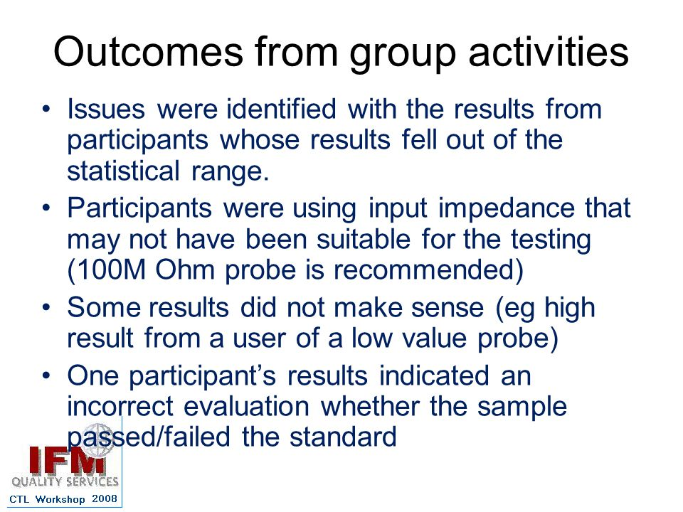 Outcomes from group activities