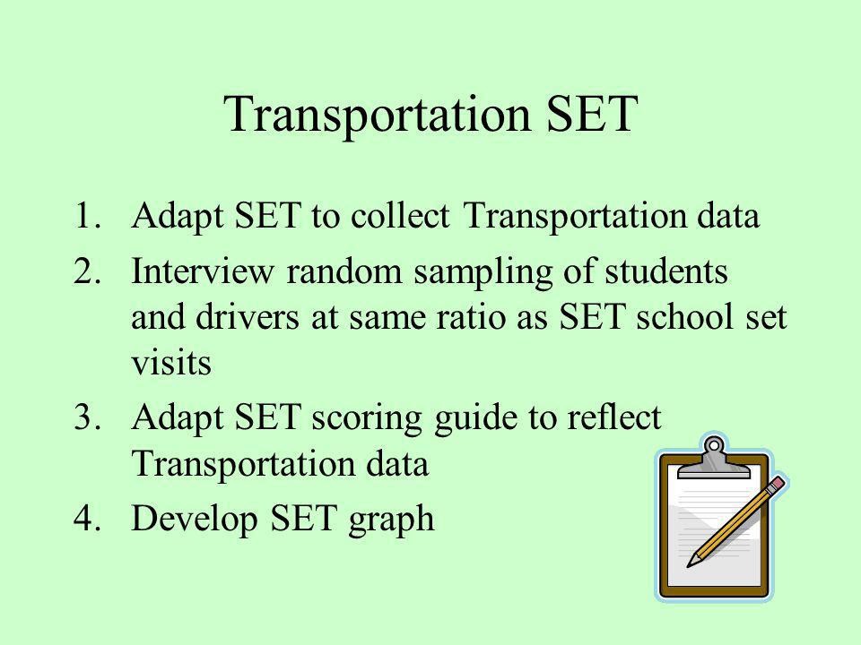 Transportation SET Adapt SET to collect Transportation data