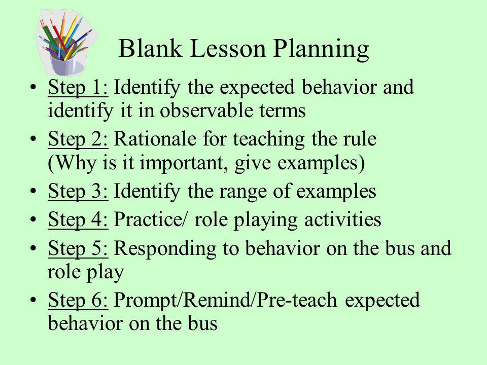 Blank Lesson Planning Step 1: Identify the expected behavior and identify it in observable terms.