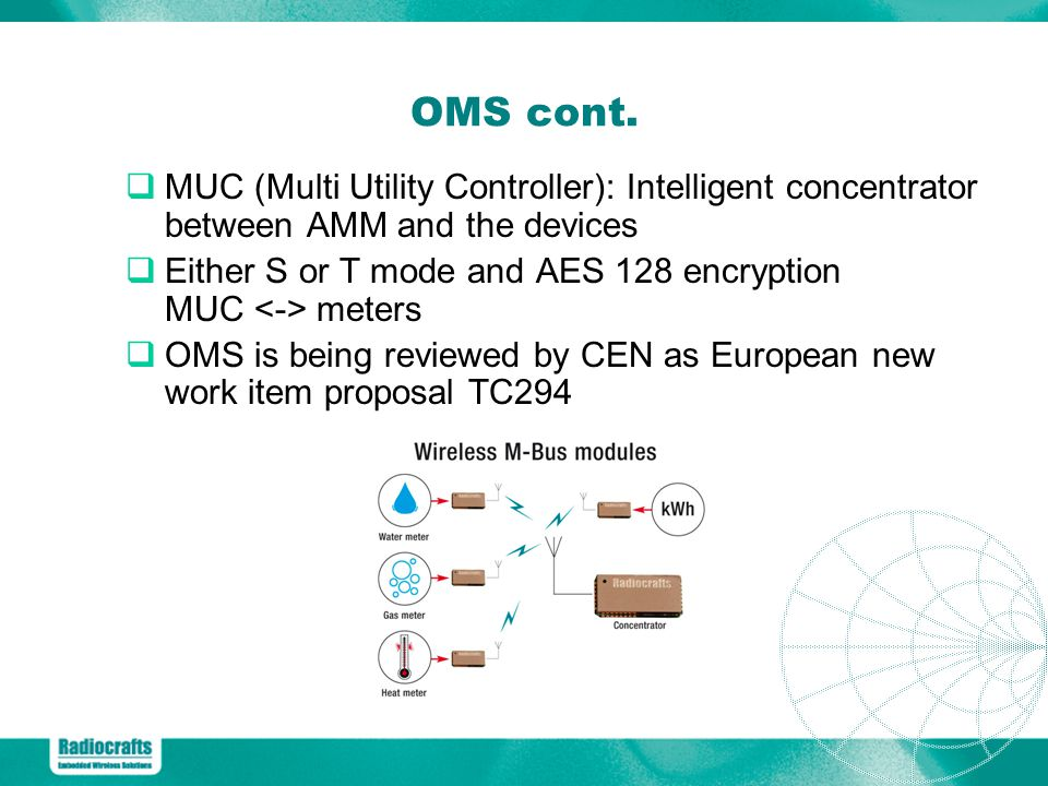 OMS cont. MUC (Multi Utility Controller): Intelligent concentrator between AMM and the devices.