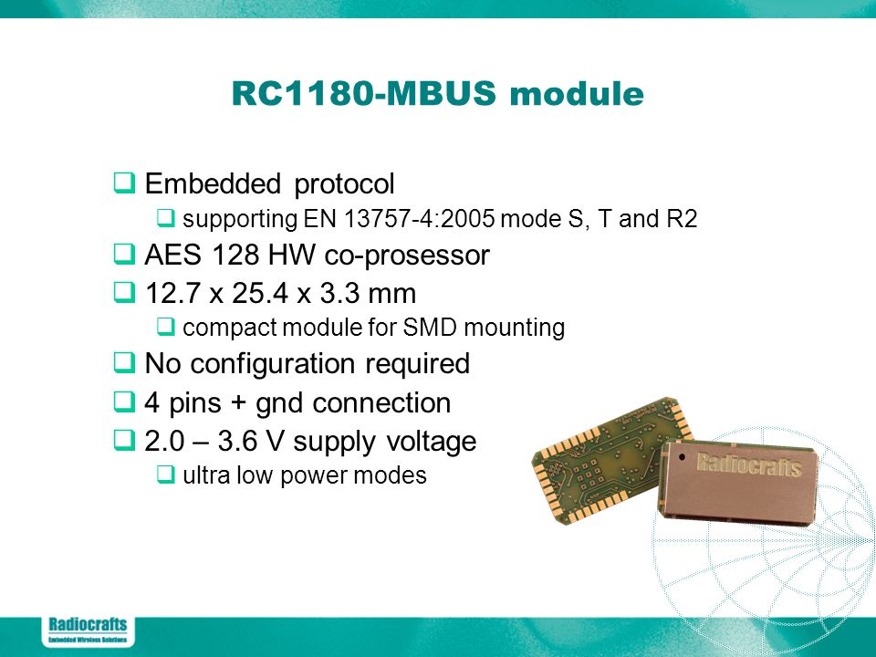 RC1180-MBUS module Embedded protocol AES 128 HW co-prosessor