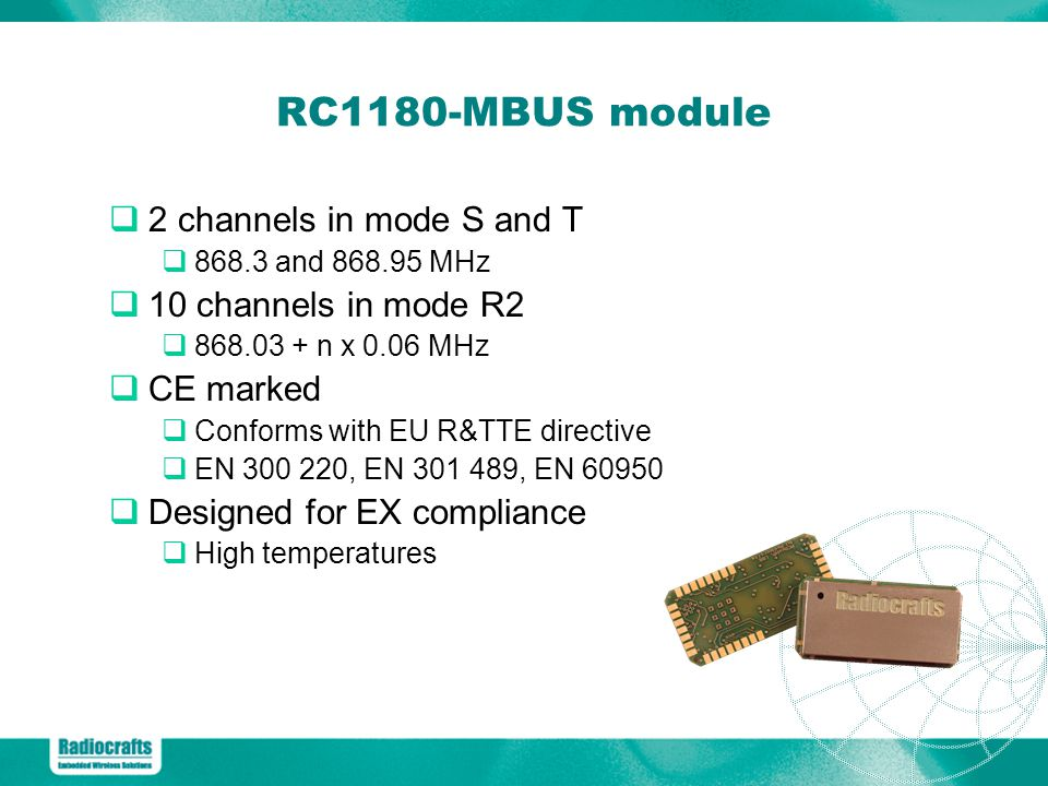 RC1180-MBUS module 2 channels in mode S and T 10 channels in mode R2