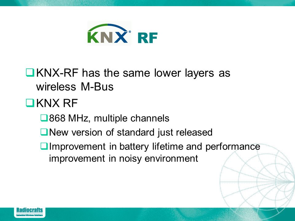 RF KNX-RF has the same lower layers as wireless M-Bus KNX RF