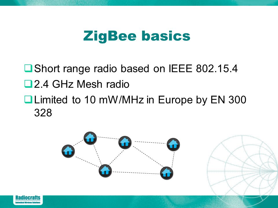 ZigBee basics Short range radio based on IEEE 802.15.4
