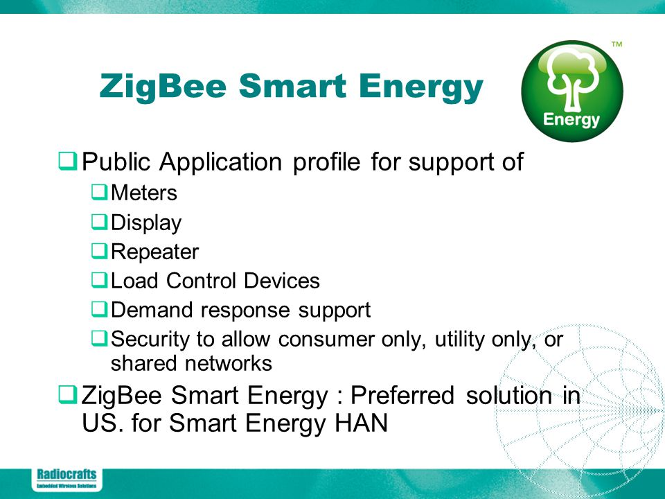 ZigBee Smart Energy Public Application profile for support of