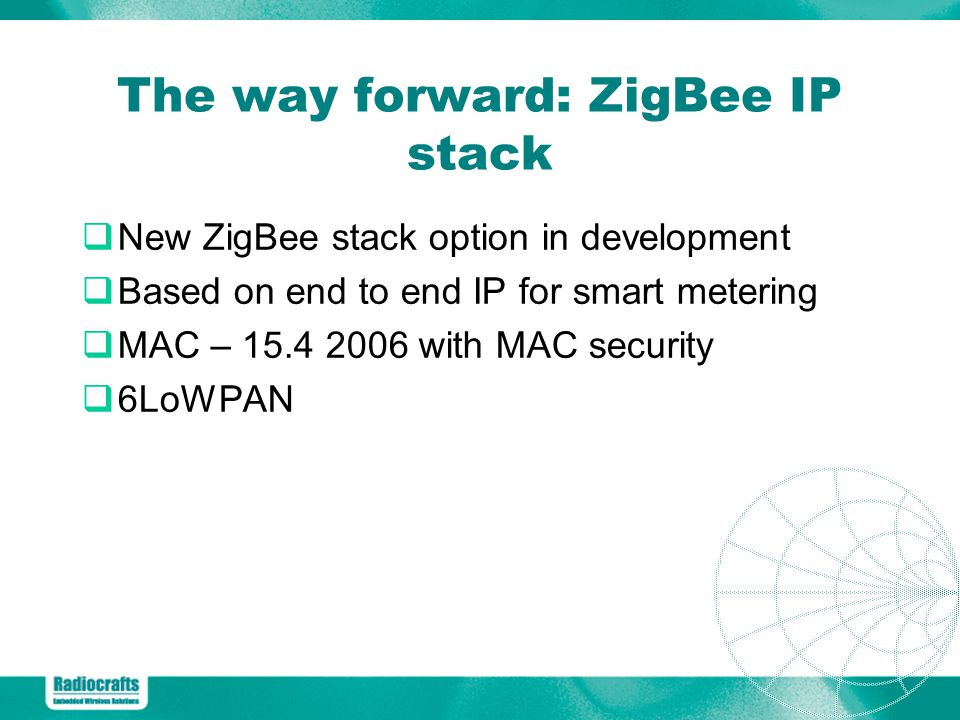 The way forward: ZigBee IP stack