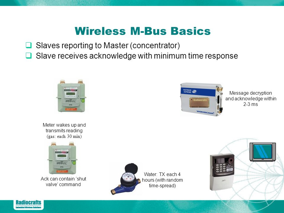 Wireless M-Bus Basics Slaves reporting to Master (concentrator)