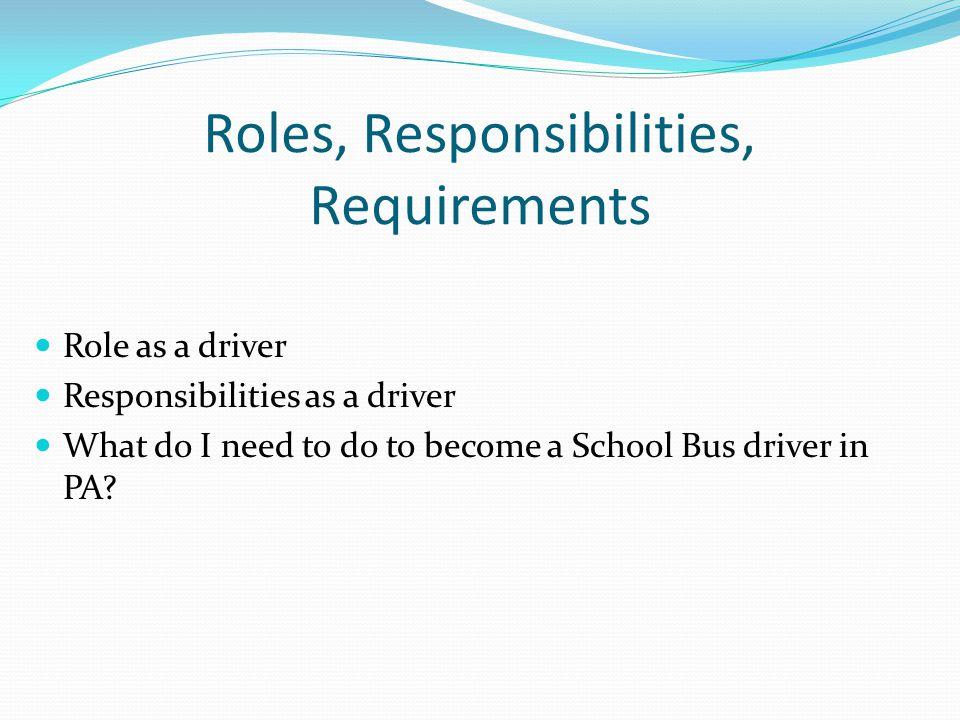 Roles, Responsibilities, Requirements